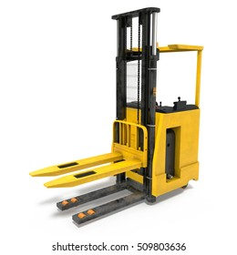 Modern forklift truck isolated on white. 3D illustration