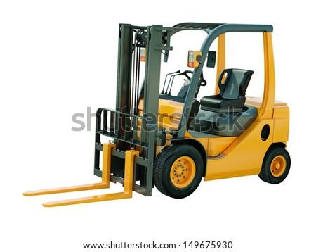 Modern forklift truck isolated