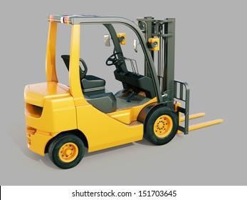 Modern forklift truck on gray background
