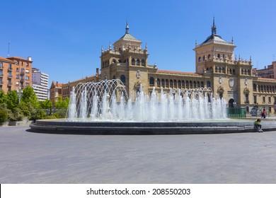 Modern fountain in the square Zorrilla in Valladolid, Spain