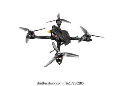 Modern FPV drone on a white background. Four-engine aircraft on the radio control. Drone for racing, filming and entertainment.