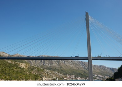 Modern Franzo Tudjman's cable-stayed bridge in Dubrovnik, Croatia.