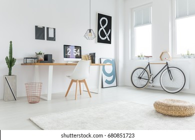 Modern freelancer's studio prepared for work from home