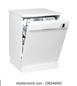 Modern freestanding dishwasher isolated on white with clipping path.
