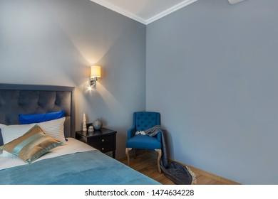 Modern fresh bedroom. Contemporary interior design