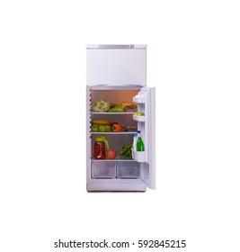 Modern fridge isolated on white background