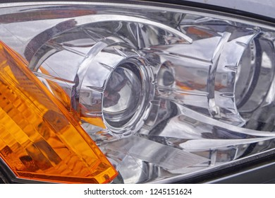 Modern front headlights with lens projectors glass
