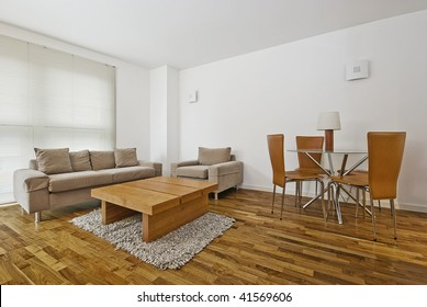 modern furnished living room and dining area