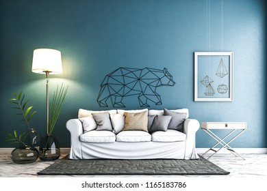 the modern furniture in front of the blue wall.