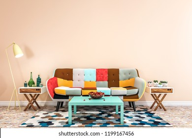 the modern furniture in front of the pastel wall.
