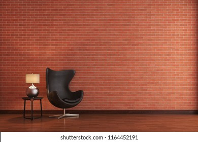the modern furniture in front of the red brick wall.