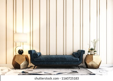 the modern furniture in front of the wall.