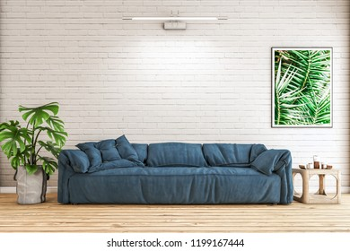the modern furniture in front of the white  brick wall.