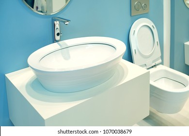 Modern furniture and sanitary ware for toilet rooms