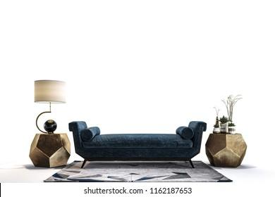 the modern furniture in white studio.
