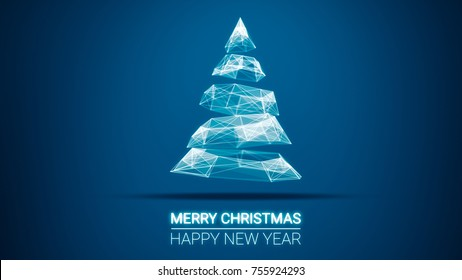 modern future christmas tree and Merry Christmas and Happy New Year greetings message on blue background.Elegant holiday season social digital card for technology, futuristic business