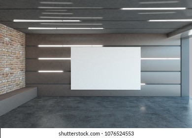 Modern Futuristic Garage Interior With Empty Banner And Illuminated Walls.  Design Concept. Mock Up