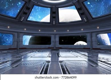 Modern futuristic spaceship interior background. 3d rendering