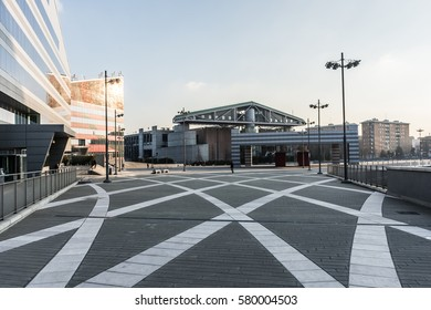 Modern and futuristic square with amazing pattern in Milan Citylife business district, Italy