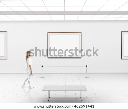 Modern Gallery Wall Mockup Woman Walk Stock Photo (Edit Now ...