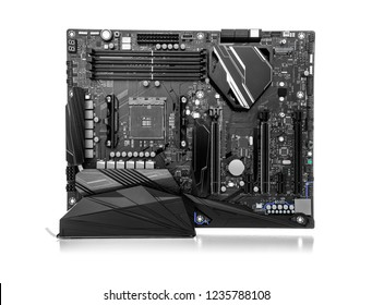 Modern gaming motherboard isolated on white background.
