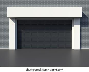 Modern garage black door 3D render
