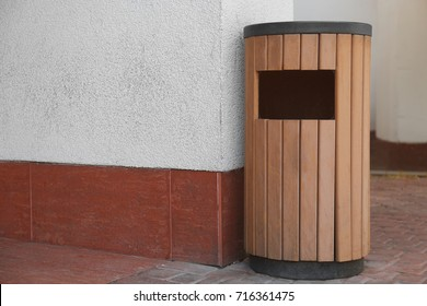 Modern garbage bin outdoors