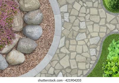 modern garden architecture in top view