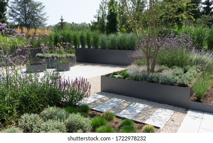 Modern garden construction with stone terrace and grass and herbs