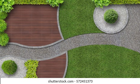 modern garden design with terrace in top view