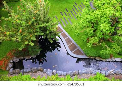 modern garden design with terrace in top view