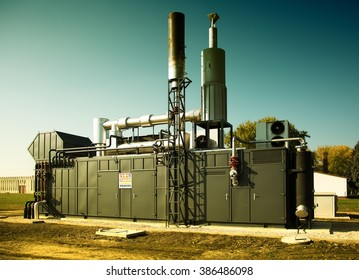 Modern gas engine energy generator outdoor
