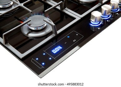 Modern gas hob, Isolated on white background with electronic controls