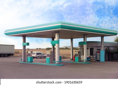 Modern gas station outdoors on sunny day