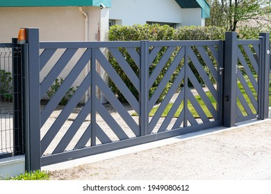 modern gate grey steel design home portal of private house