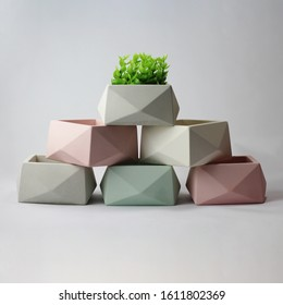 Modern geometric Concrete pot  concrete planter on white background with beautiful flower dedicated for garden rooms, greenhouse environments, secret gardens, and modern gardening