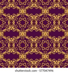 Modern geometric seamless pattern with gold repeating elements on a purple background. Seamless golden ornament.