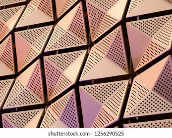 modern geometric steel cladding with angular patterns