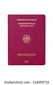 Modern German passport isolated on white background.