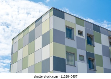 Modern Giant  Apartment Building Blue Sky Facade Home Residential Structure