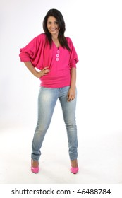 Modern girl with jeans pant and pink tops