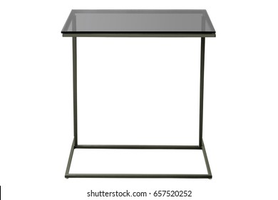 modern glass black table isolated on white background.