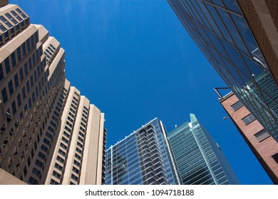 Modern glass building with blue sky