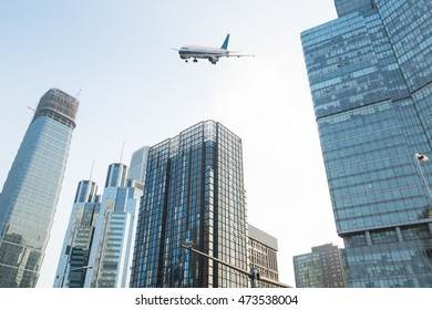 Modern glass building exterior and plane