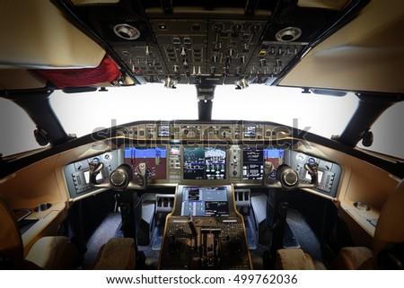 Modern glass cockpit flightdeck aircraft stock photo edit now