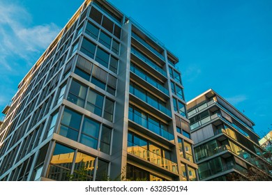 modern glass facade of finance buildings
