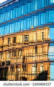 Modern glass office building in Berlin, Germany