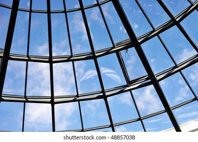 Modern glass roof of  building