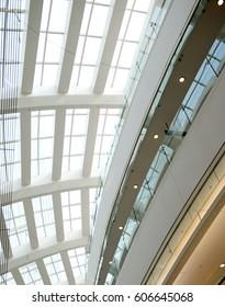 modern glass roof inside office center