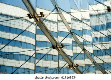 Modern glass silhouettes, geometric lines, on a modern building